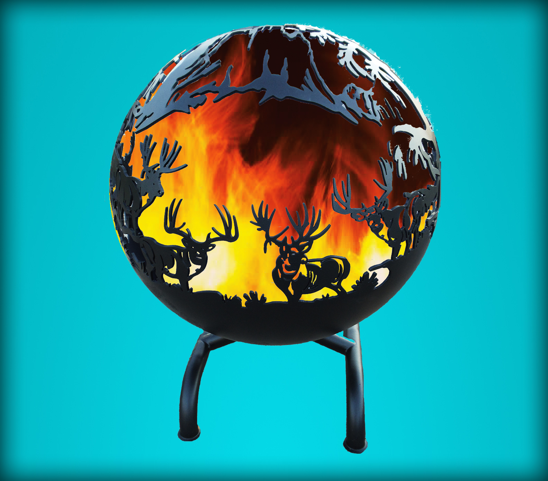 Kickin Back Kreations Great Ball of Fire Elk Design, Fire Pit